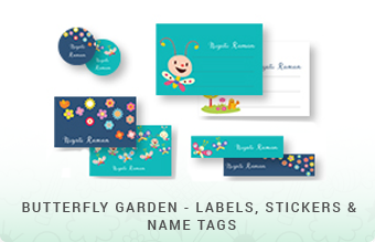 Butterfly Garden - Book Labels,Stickers & Name Tags