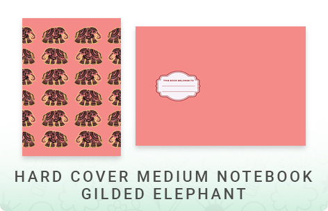 Gold Foil Hard Cover Medium Notebook - Gilded Elephant