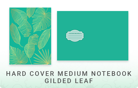 Gold Foil Hard Cover Medium Notebook - Gilded Leaf