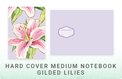 Gold Foil Hard Cover Medium Notebook - Gilded Lily