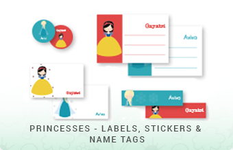 Princesses - Labels, Stickers & Name Tags