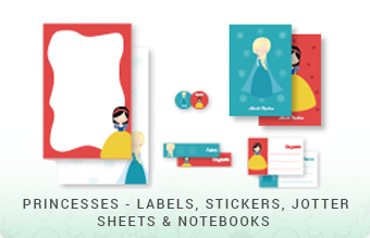 Princesses - Labels, Stickers, Jottersheets & Notebooks